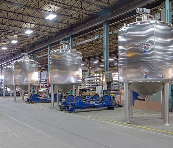 Food grade finish on stainless steel tanks