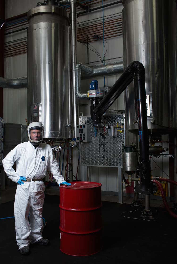 Worker in a chemical processing facility