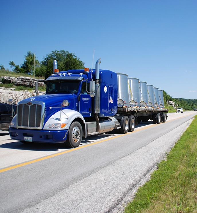 Mueller Transportation Truck Loaded with Wine Barrels